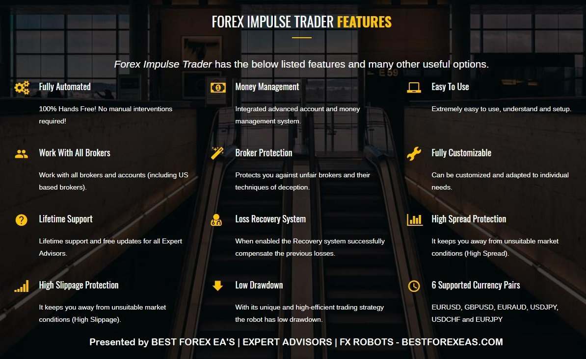 Forex Impulse Trader EA Review - Forex Impulse Trader EA Is A Profitable FX Expert Advisor For The Metatrader 4 (MT4) Platform And Reliable Forex Trading Robot Created By The Automated Forex Tools Team