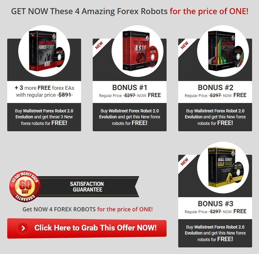 WallStreet Forex Robot 2.0 Evolution PLUS 3 More FREE Forex EA's - WallStreet Recovery PRO EA, WallStreet ASIA Robot And WallStreet Gold Trader