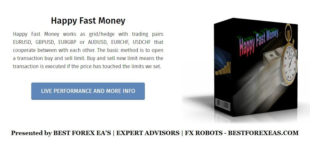 Happy Fast Money EA Review - Happy Fast Money EA Is A Profitable FX Expert Advisor And Reliable Forex Robot For Metatrader 4 (MT4) Using Grid And Hedge Strategies